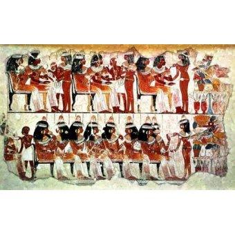 cuadros etnicos y oriente - Cuadro -Fresco en Thebes,- Banquete -- - _Anónimo Egipcio