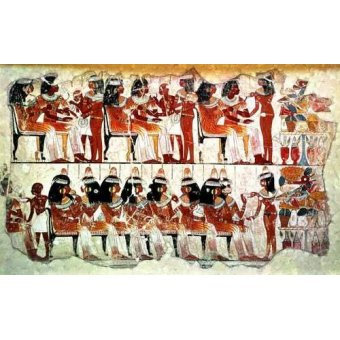 quadros étnicos e orientais - Quadro -Fresco en Thebes,- Banquete -- - _Anónimo Egipcio