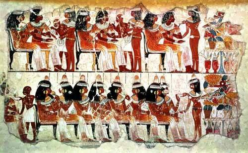 ethnic and oriental paintings - Picture -Fresco en Thebes,- Banquete -- - _Anónimo Egipcio