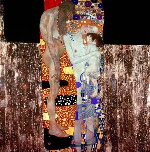 pinturas-de-retratos - Quadro -Las tres edades de la vida- - Klimt, Gustav