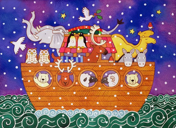 quadros-infantis - Quadro -Christmas Ark, 1999 (w.c and pastel on paper) - - Baxter, Cathy