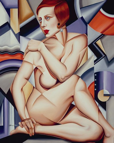pinturas-de-retratos - Quadro -Cubist Nude (oil on canvas)- - Abel, Catherine