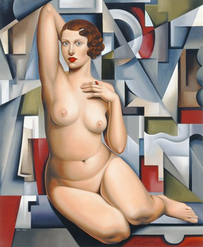 pinturas-de-retratos - Quadro -Seated Cubist Nude (oil on canvas)- - Abel, Catherine