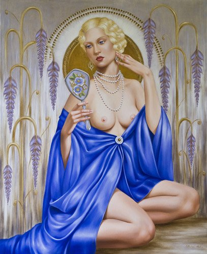 pinturas-de-retratos - Quadro -Rhapsody in Blue (oil on canvas)- - Abel, Catherine