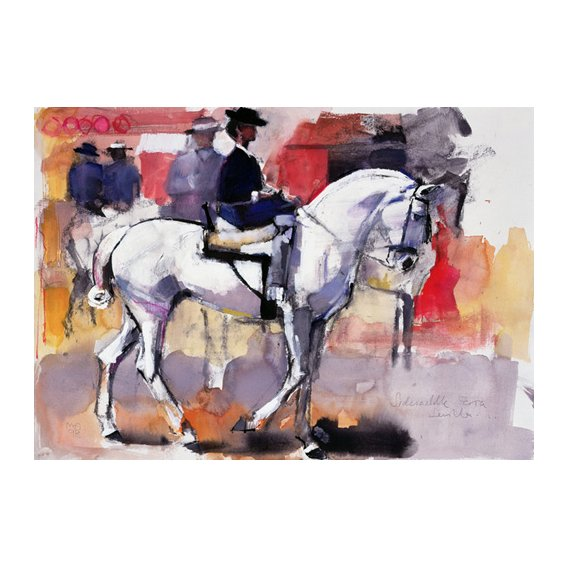 Quadro -Side-saddle at the Feria de Sevilla, 1998 (mixed media on paper)-