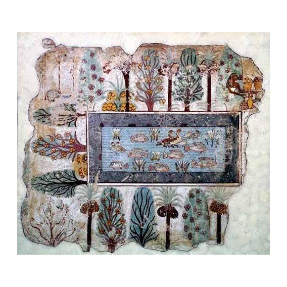 ethnic and oriental paintings - Picture -Fresco en Thebes,- Estanque en un jardin --