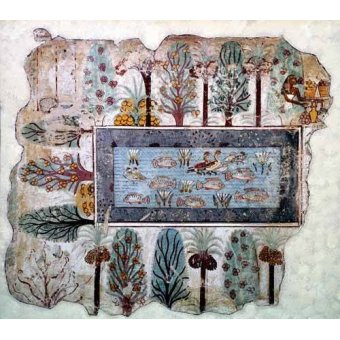 ethnic and oriental paintings - Picture -Fresco en Thebes,- Estanque en un jardin -- - _Anónimo Egipcio