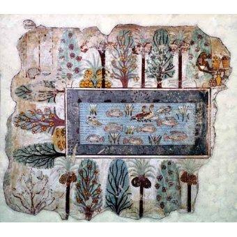 quadros étnicos e orientais - Quadro -Fresco en Thebes,- Estanque en un jardin -- - _Anónimo Egipcio