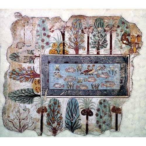 cuadros etnicos y oriente - Cuadro -Fresco en Thebes,- Estanque en un jardin --