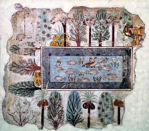 ethnic and oriental paintings - Picture -Fresco en Thebes,- Estanque en un jardin -- - _Anónimo Egipcio