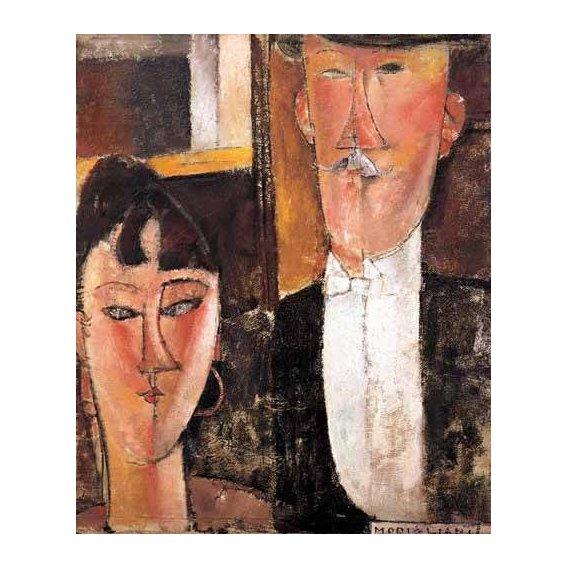 pinturas do retrato - Quadro -Pareja de novios-