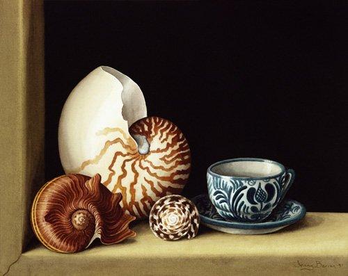 naturezas-mortas - Quadro -Still life with Nautilus, 1998 (w.c on paper)- - Barron, Jenny