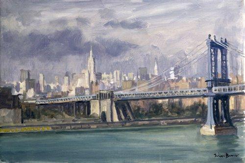 quadros-modernos - Quadro -Manhattan Bridge, New York, 1996 (oil on canvas)- - Barrow, Julian