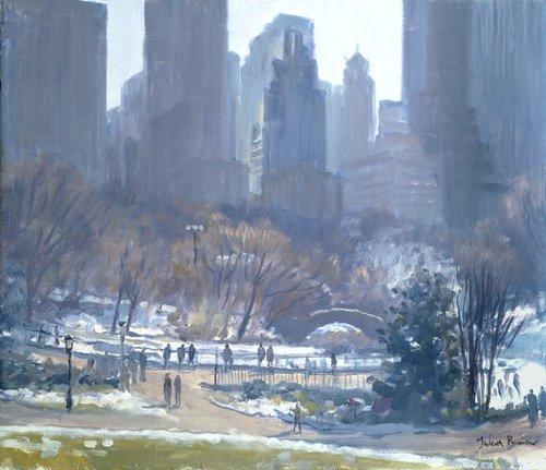 quadros-modernos - Quadro -Winter in Central Park, New York, 1997 (oil on canvas)- - Barrow, Julian