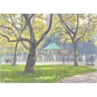 quadros de paisagens - Quadro -Boat Pond, Central Park (oil on canvas)- - Barrow, Julian