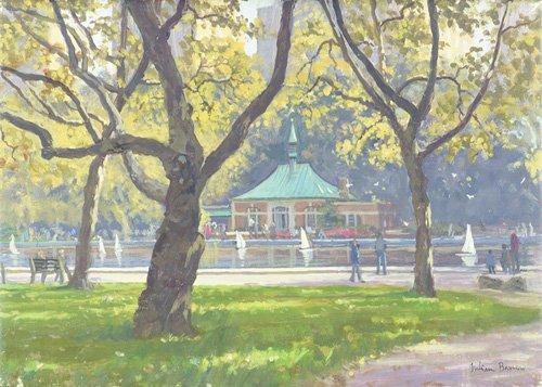 quadros-modernos - Quadro -Boat Pond, Central Park (oil on canvas)- - Barrow, Julian