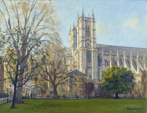 quadros-modernos - Quadro -Westminster Abbey from Dean's Yard (oil on canvas)- - Barrow, Julian
