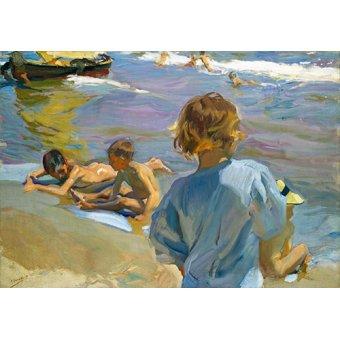 quadros de paisagens marinhas - Quadro -Crianças na praia, 1916 - - Sorolla, Joaquin