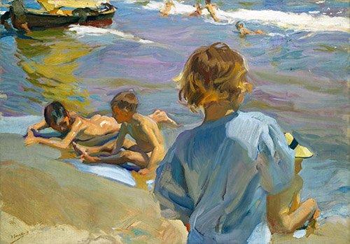 quadros-de-paisagens-marinhas - Quadro -Crianças na praia, 1916 - - Sorolla, Joaquin