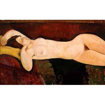 quadros nu artistico - Quadro -Desnudo femenino acostado- - Modigliani, Amedeo