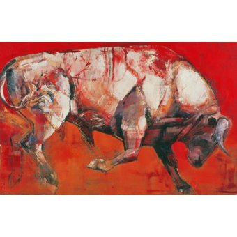 quadros de animais - Quadro -The White Bull, 1999 (oil on board)- - Adlington, Mark