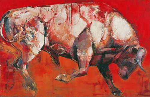 quadros-para-sala - Quadro -The White Bull, 1999 (oil on board)- - Adlington, Mark