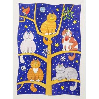 quadros infantis - Quadro -Five Christmas Cats- - Baxter, Cathy