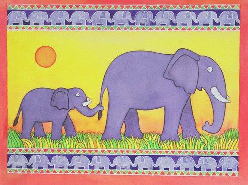 quadros-infantis - Quadro -Elephants- - Baxter, Cathy
