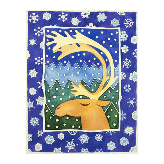 Quadro -Reindeer and Snowflakes-