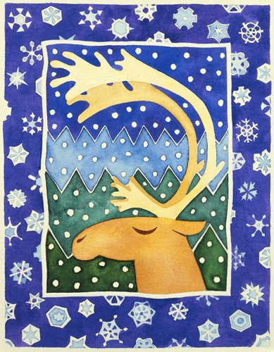 quadros-infantis - Quadro -Reindeer and Snowflakes- - Baxter, Cathy