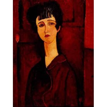 pinturas de retratos - Quadro -Retrato de una chica- - Modigliani, Amedeo