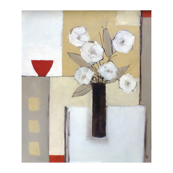 Quadro -Red Bowl, White Flowers-