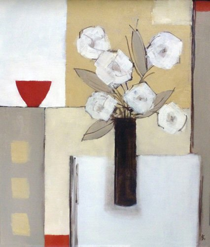 quadros-modernos - Quadro -Red Bowl, White Flowers- - Bianchi, Ana