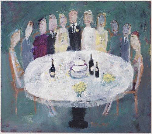 quadros-modernos - Quadro -Wedding Breakfast, 2007 (oil on board)- - Bower, Susan