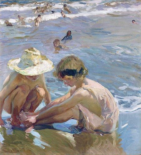 quadros-de-paisagens-marinhas - Quadro -El pie herido, 1909 - - Sorolla, Joaquin