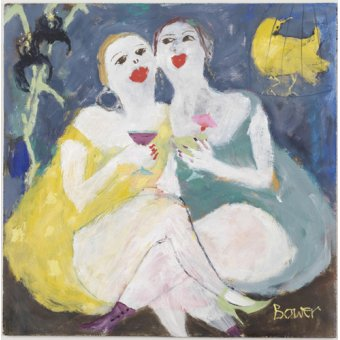 Quadros para sala de jantar - Quadro -Friday Night Girls, 2007 (oil on board)- - Bower, Susan