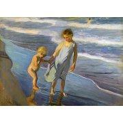 Quadro -Dos niños en una playa -