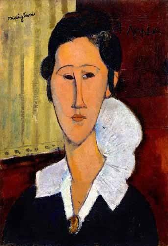 pinturas-de-retratos - Quadro -Retrato de Anna Zborowska- - Modigliani, Amedeo