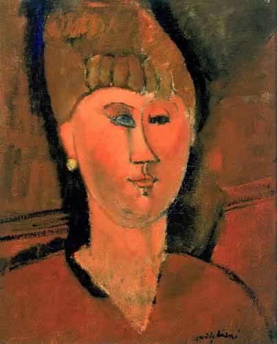 cuadros de retrato - Cuadro -La chica roja- - Modigliani, Amedeo