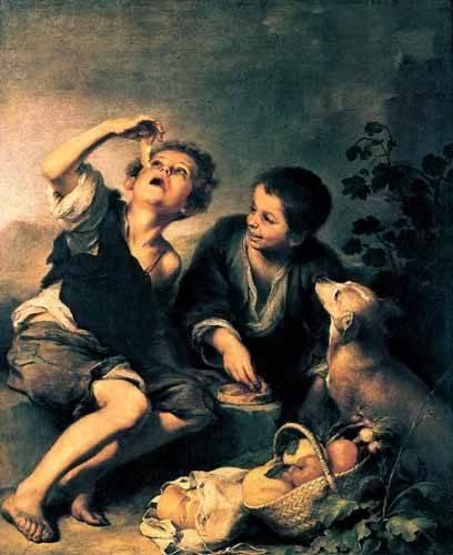 cuadros de retrato - Cuadro -Niños comiendo pasteles- - Murillo, Bartolome Esteban