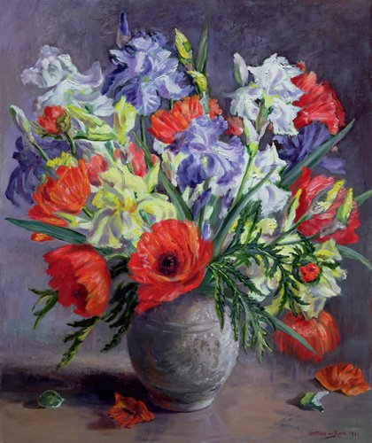 quadros-de-flores - Quadro - Poppies and Irises, 1991 - - Durose, Anthea