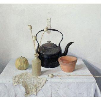 naturezas mortas - Quadro - Kettle, Poppyheads and Gourd, Still Life, 1990 - - Easton, Arthur