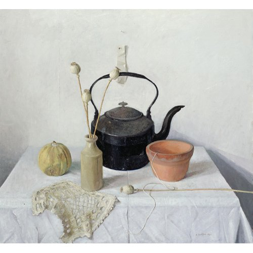 Quadro - Kettle, Poppyheads and Gourd, Still Life, 1990 -