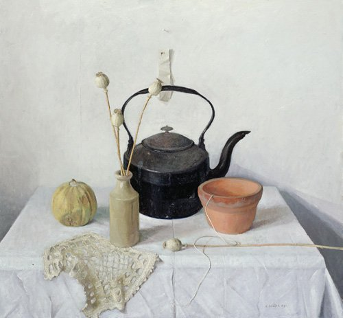 naturezas-mortas - Quadro - Kettle, Poppyheads and Gourd, Still Life, 1990 - - Easton, Arthur