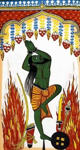 quadros étnicos e orientais - Quadro -Ardjama, hombre santo, rezando en penitencia- - _Anónimo Indú