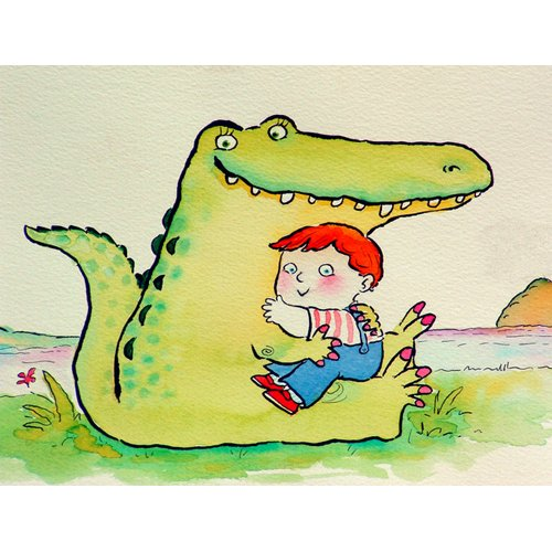 Quadro -Crocodile Hug, or Best Friends (pen & ink and w.c on paper)-
