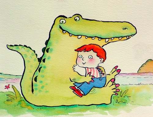 quadros-infantis - Quadro -Crocodile Hug, or Best Friends (pen & ink and w.c on paper)- - Christie, Maylee