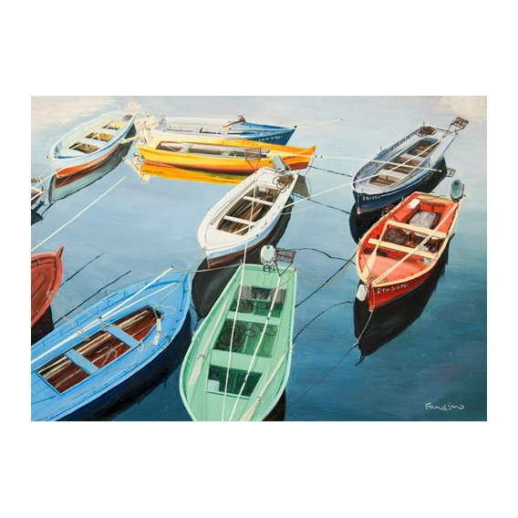 Quadro - Bright Boats at La Coruña, Spain -