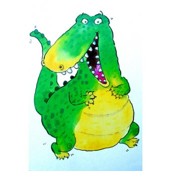 quadros infantis - Quadro -Happy Crocodile (w.c & ink on paper)- - Christie, Maylee