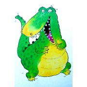 Quadro -Happy Crocodile (w.c & ink on paper)-